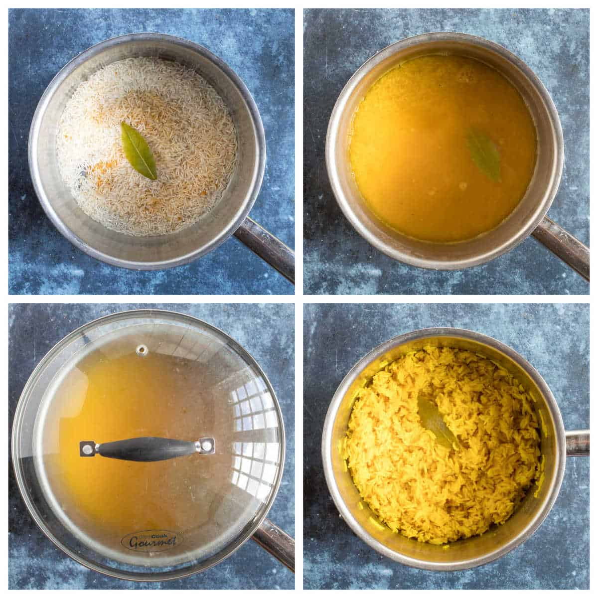 Step by step photo instructions for making turmeric rice
