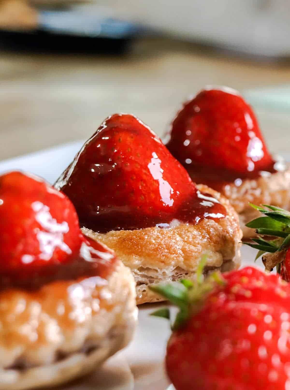 Puff pastry strawberry tarts.