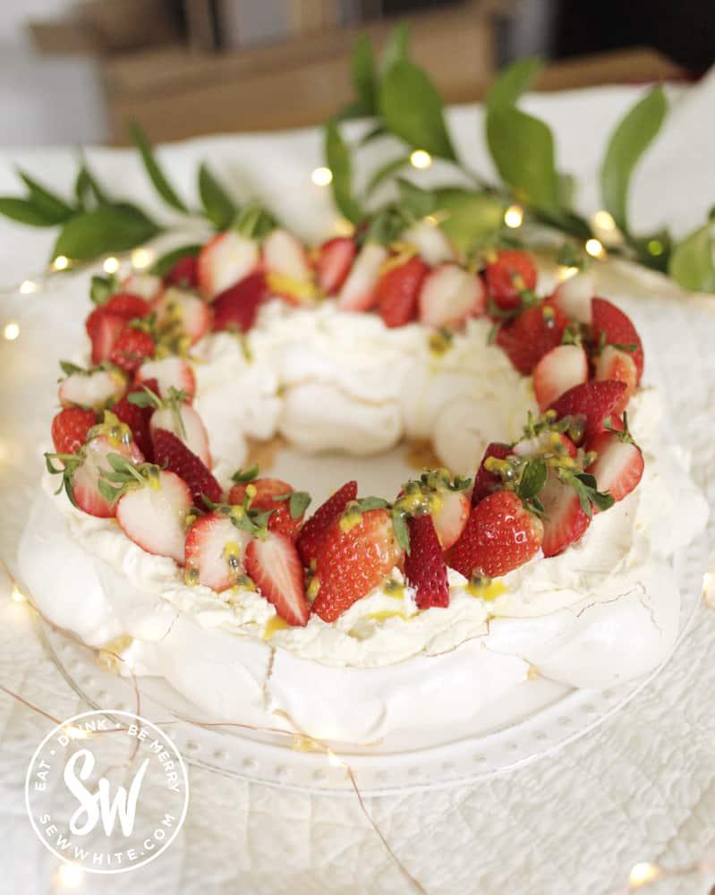 Strawberry Pavlova.