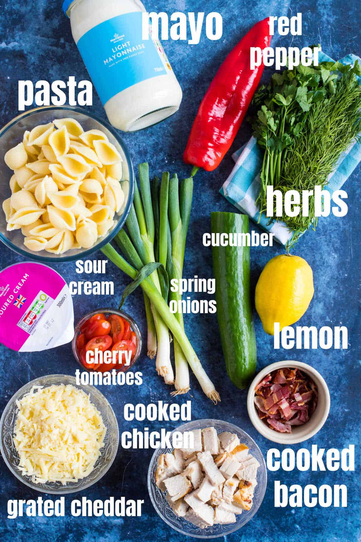 Ingredients for chicken bacon ranch pasta salad.
