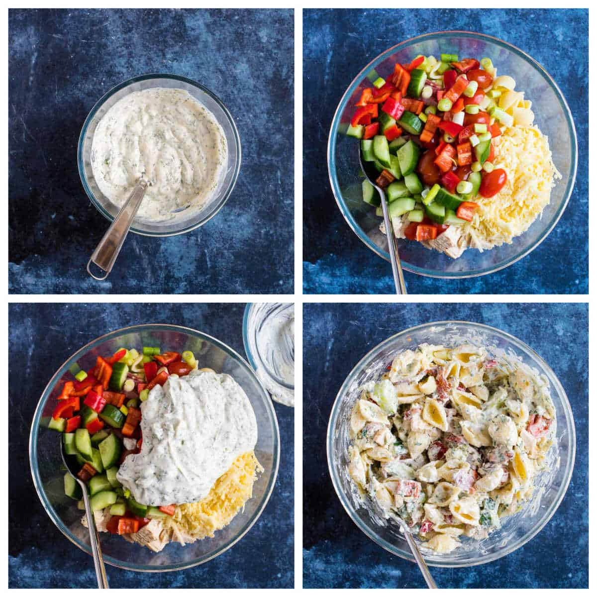 Step by step photo instructions for making the chicken bacon pasta salad.
