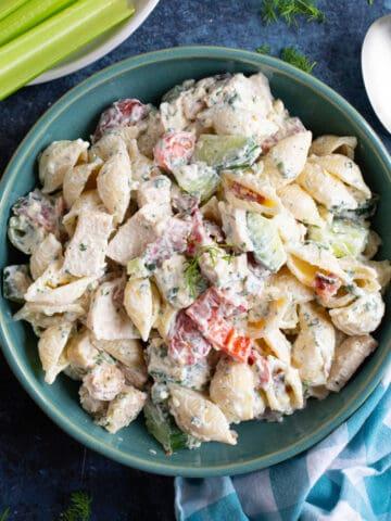 Chicken bacon pasta salad.