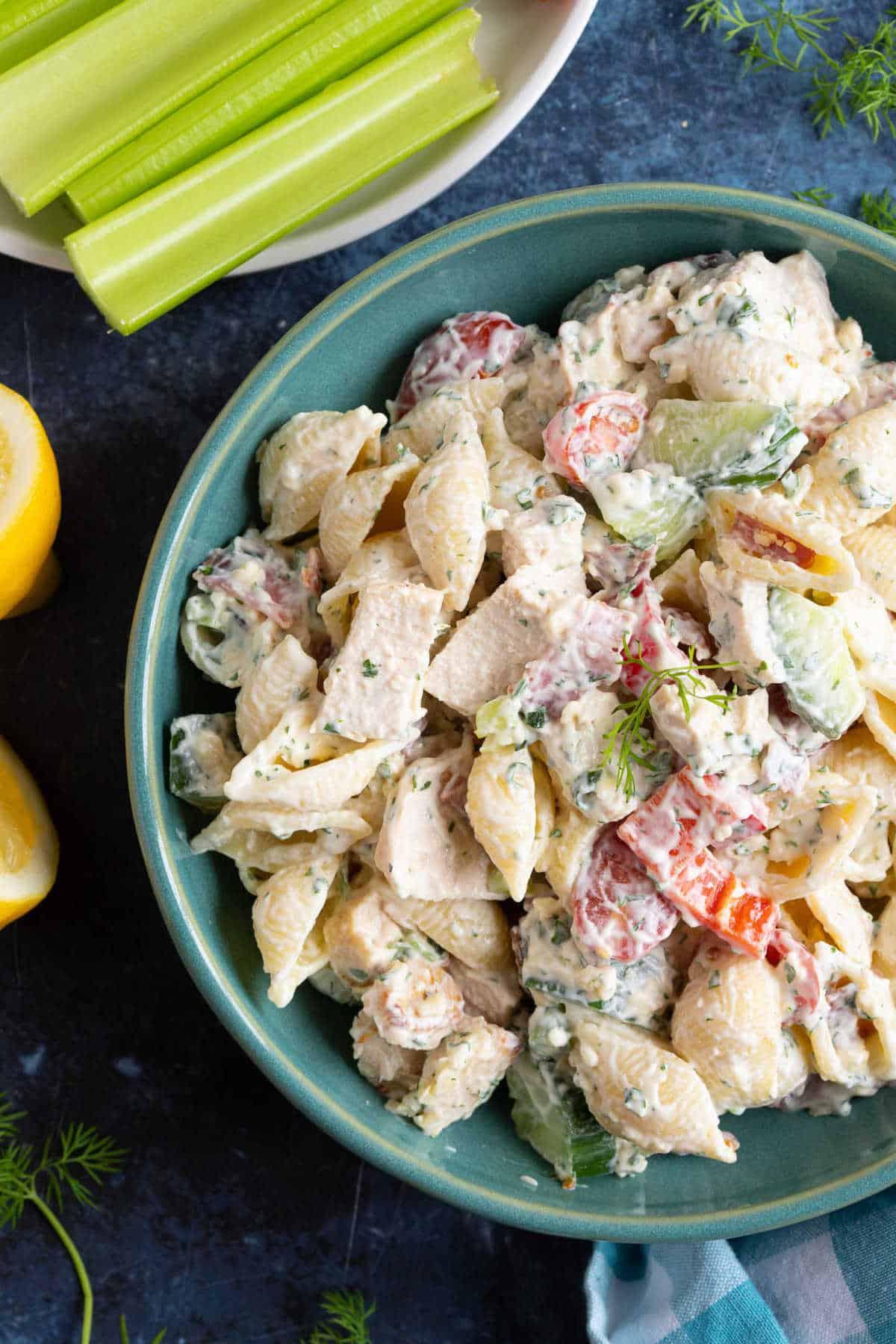 Chicken bacon ranch pasta salad.