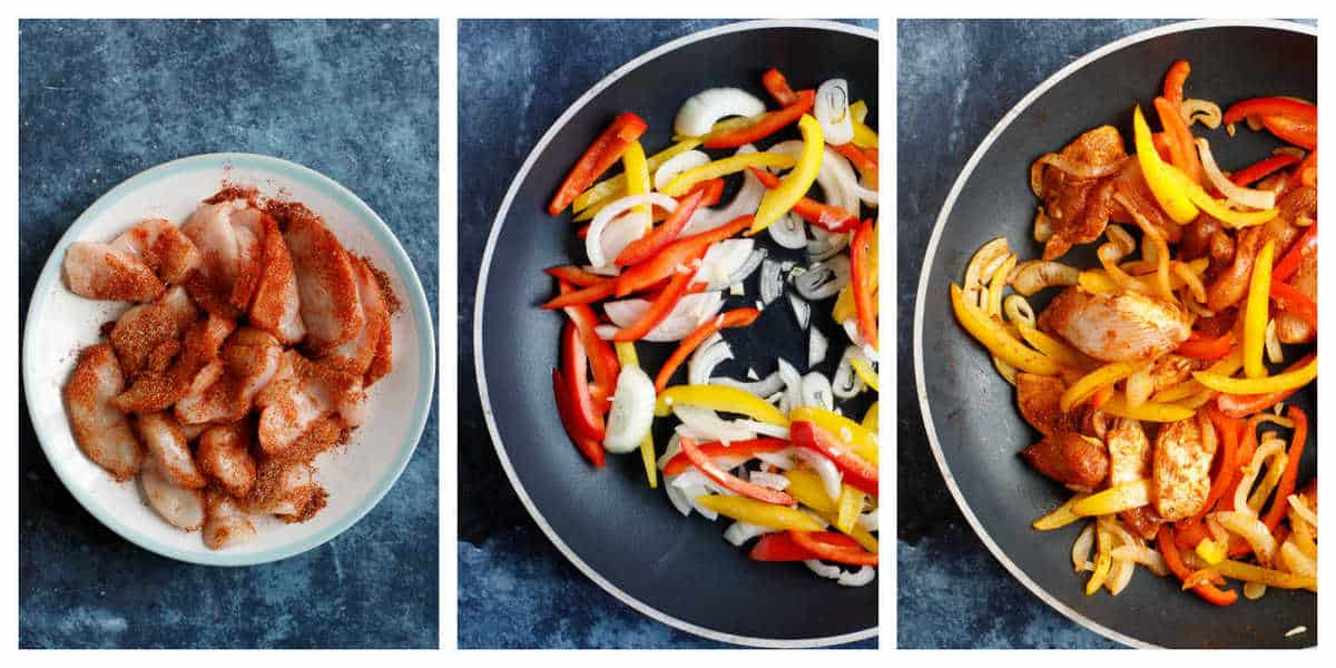 Step by step photo instructions for making chicken fajita pasta bake.