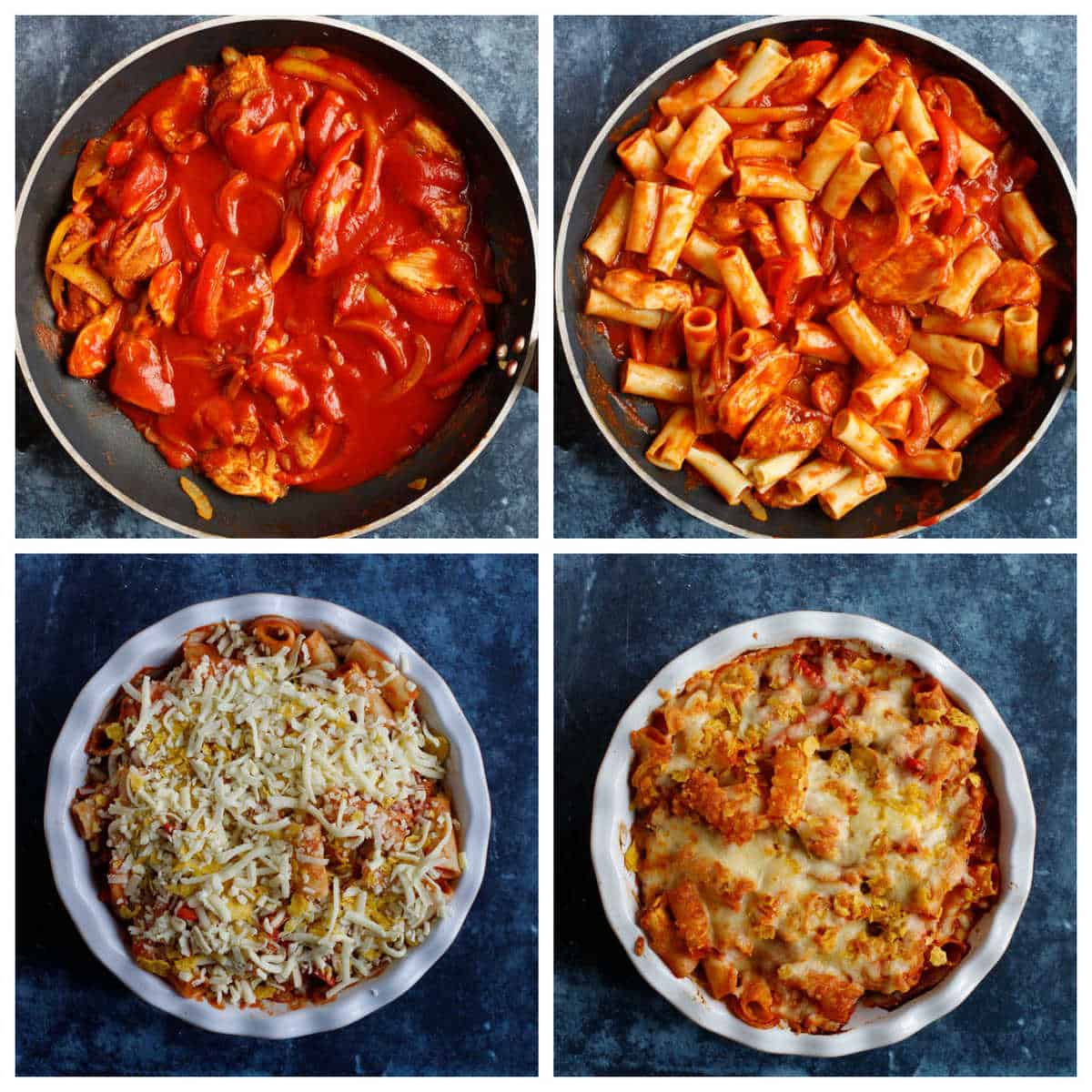 Step by step photo instructions for making fajita pasta bake part 2.