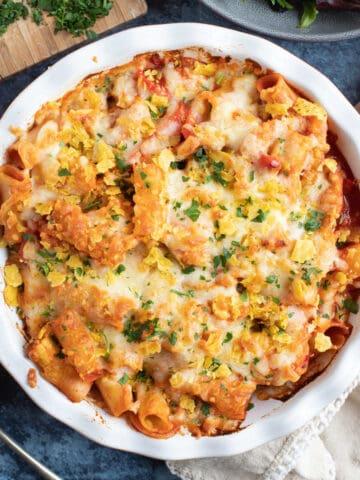 Chicken fajita pasta bake.