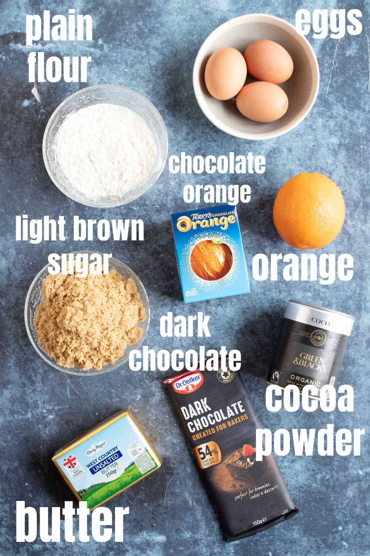 Ingredients needed for the Terry's chocolate orange brownies.