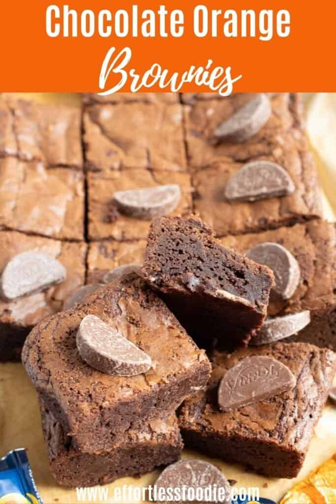 Chocolate orange brownies pin image.