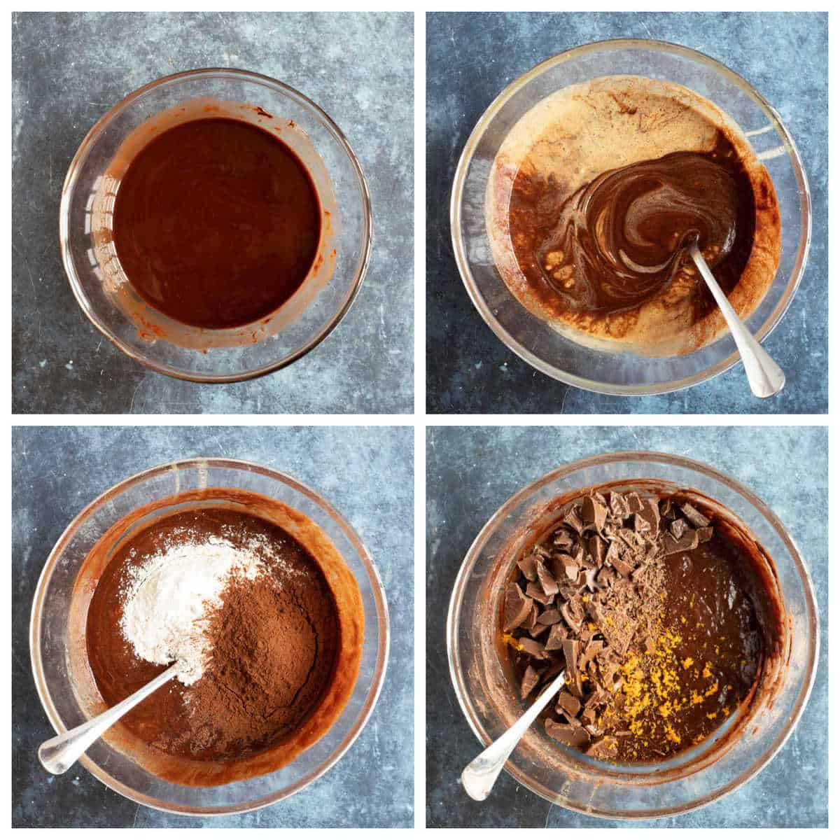 Step by step photo instruction collage for making the Terry's chocolate orange brownies.