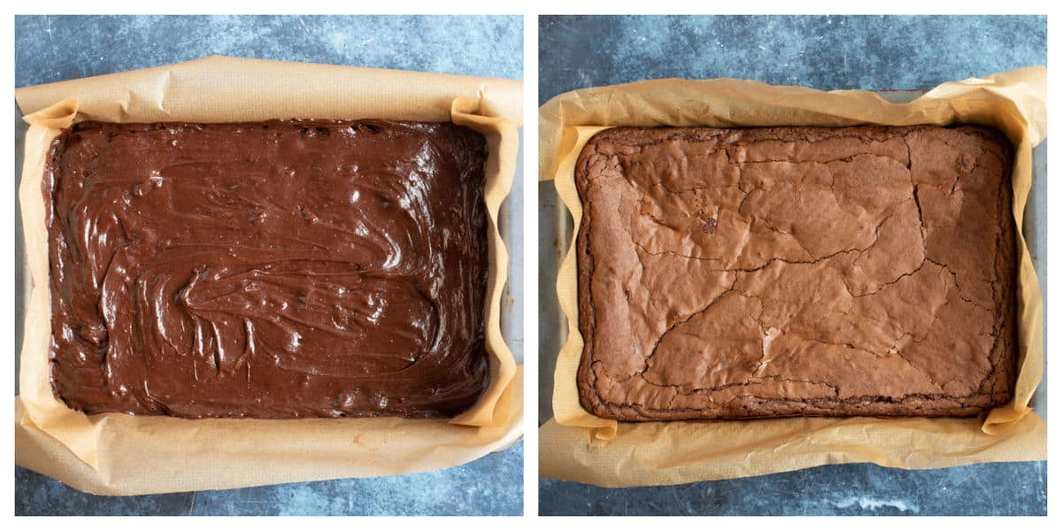 Chocolate orange brownies in baking tin.