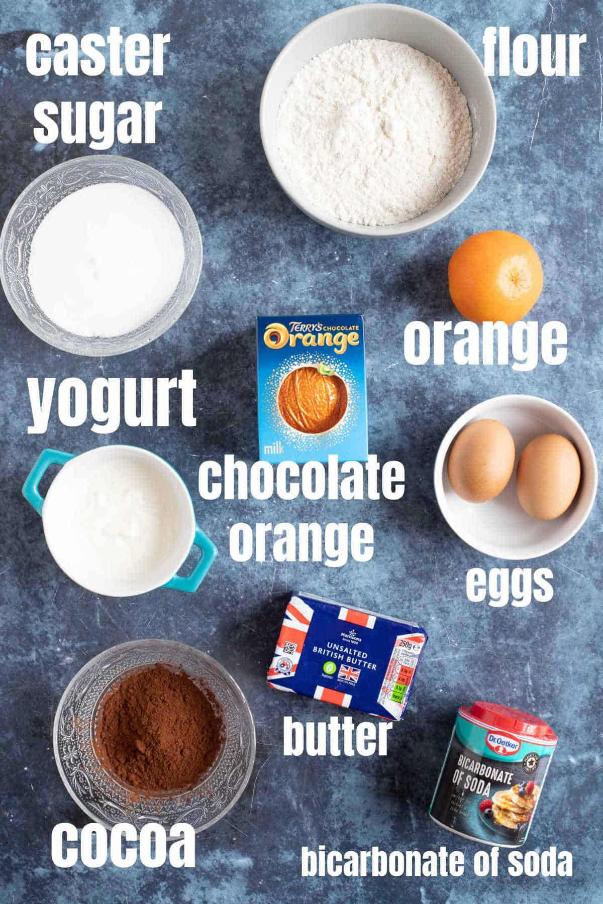 Ingredients for chocolate orange muffins.