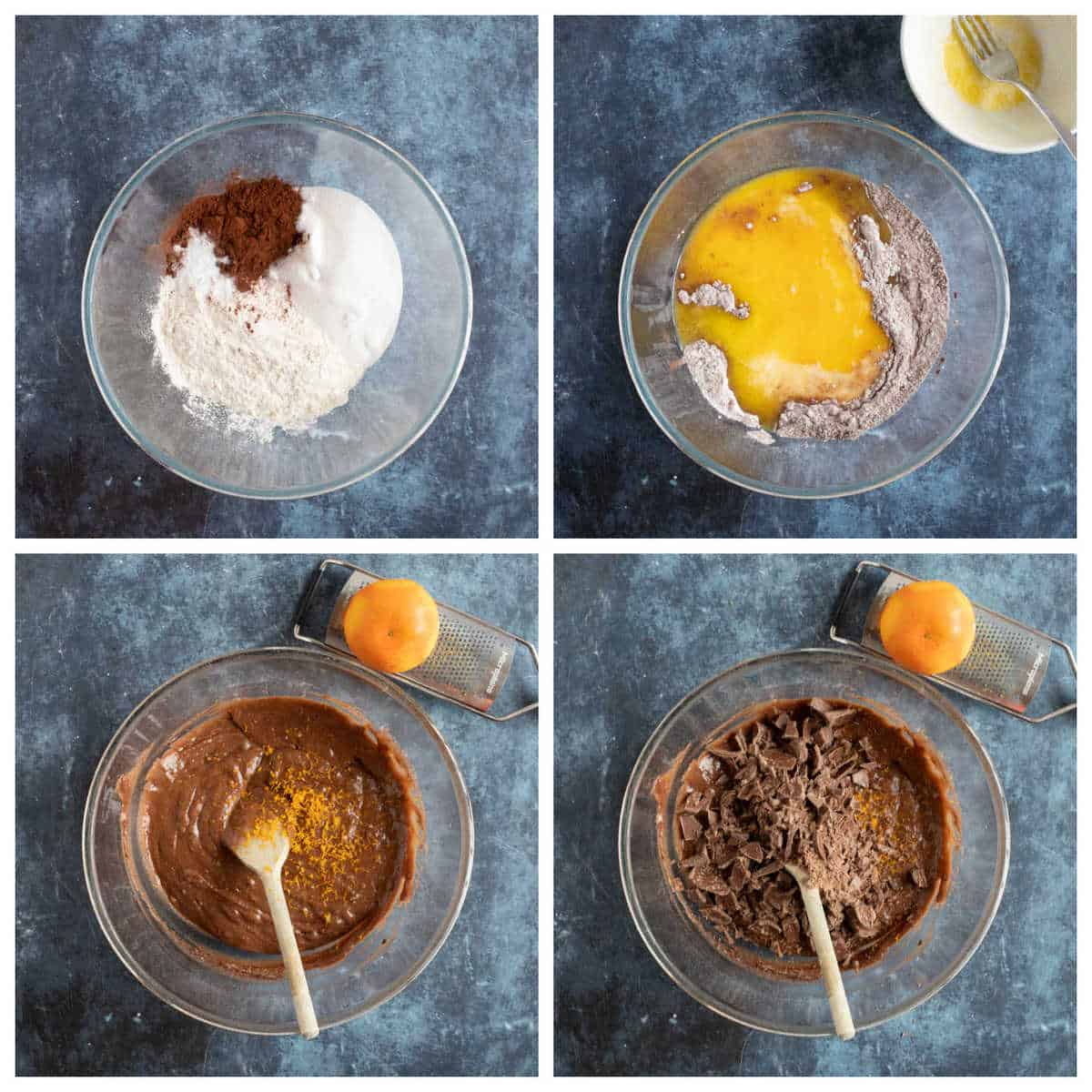 Step by step photo instructions for making chocolate orange muffins.