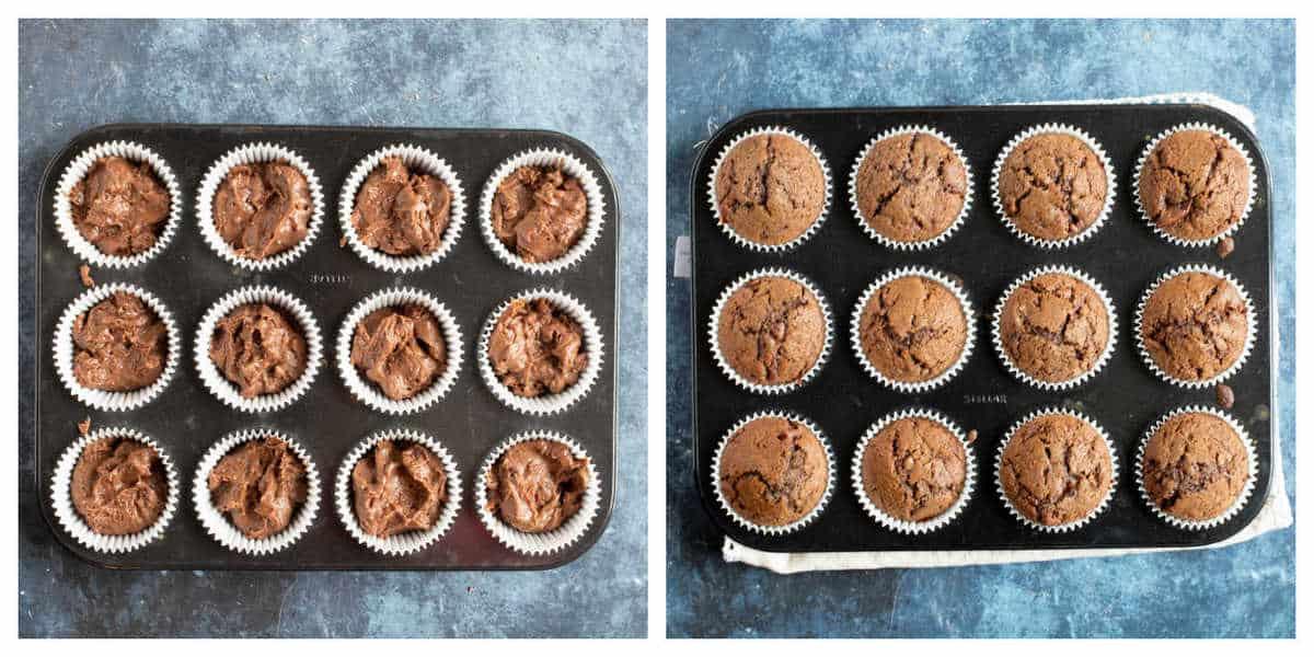 Chocolate Muffins in a muffin tin.