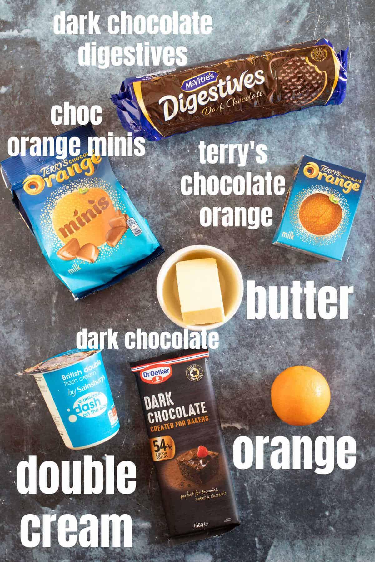 Ingredients for no -bake chocolate orange tarts.