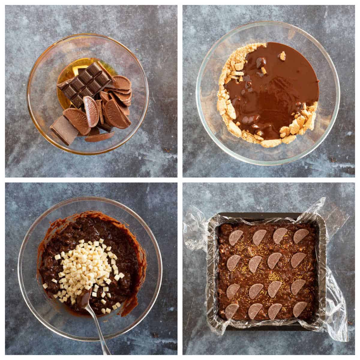 Step by step  photo instructions for making chocolate orange tiffin.