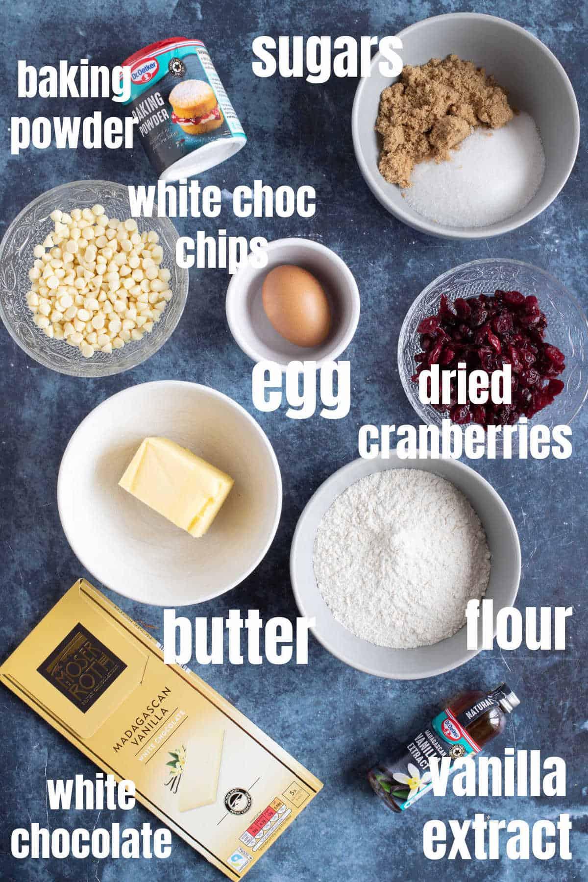 Ingredients needed to make white chocolate cranberry blondies.