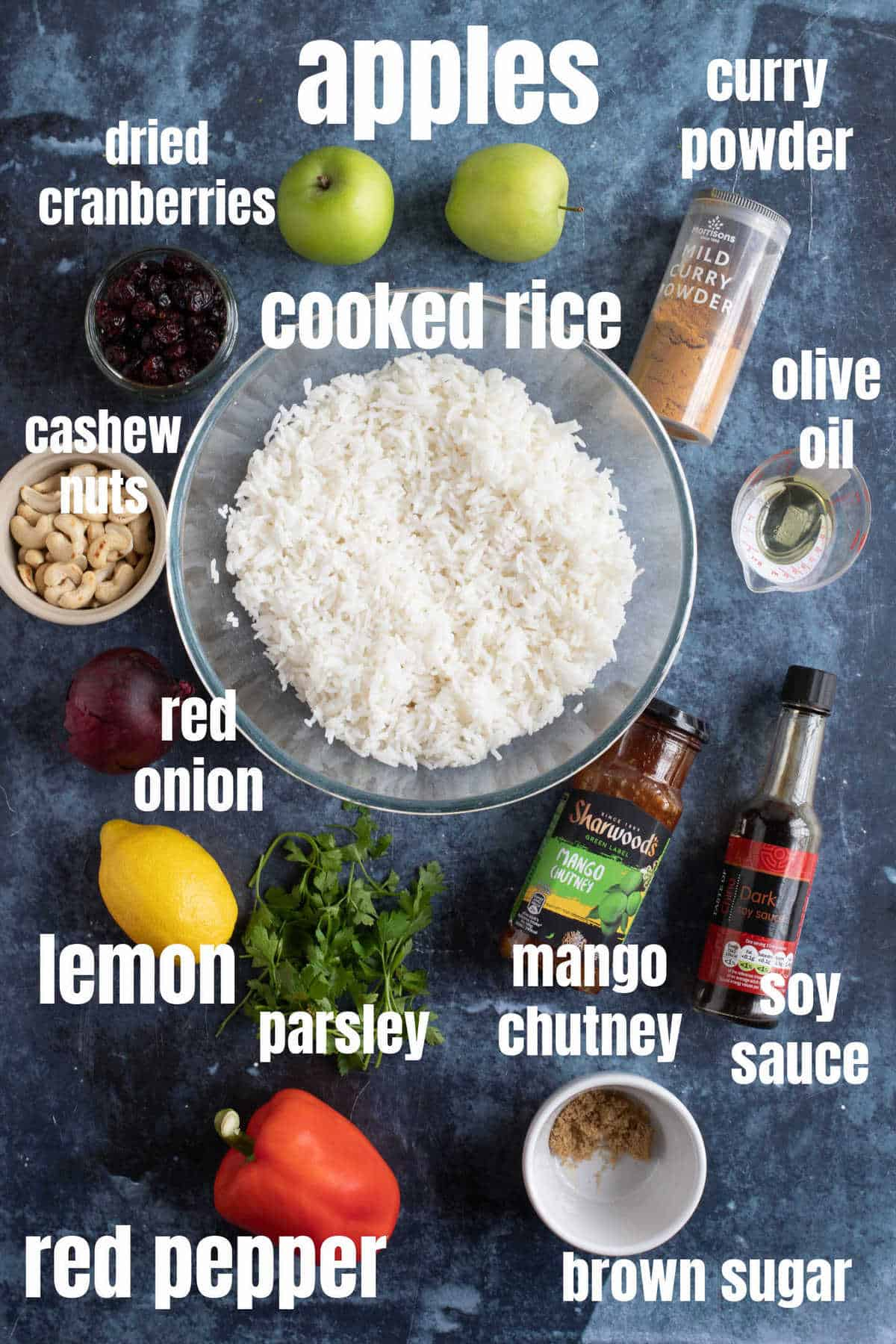 Ingredients needed for curried rice salad.