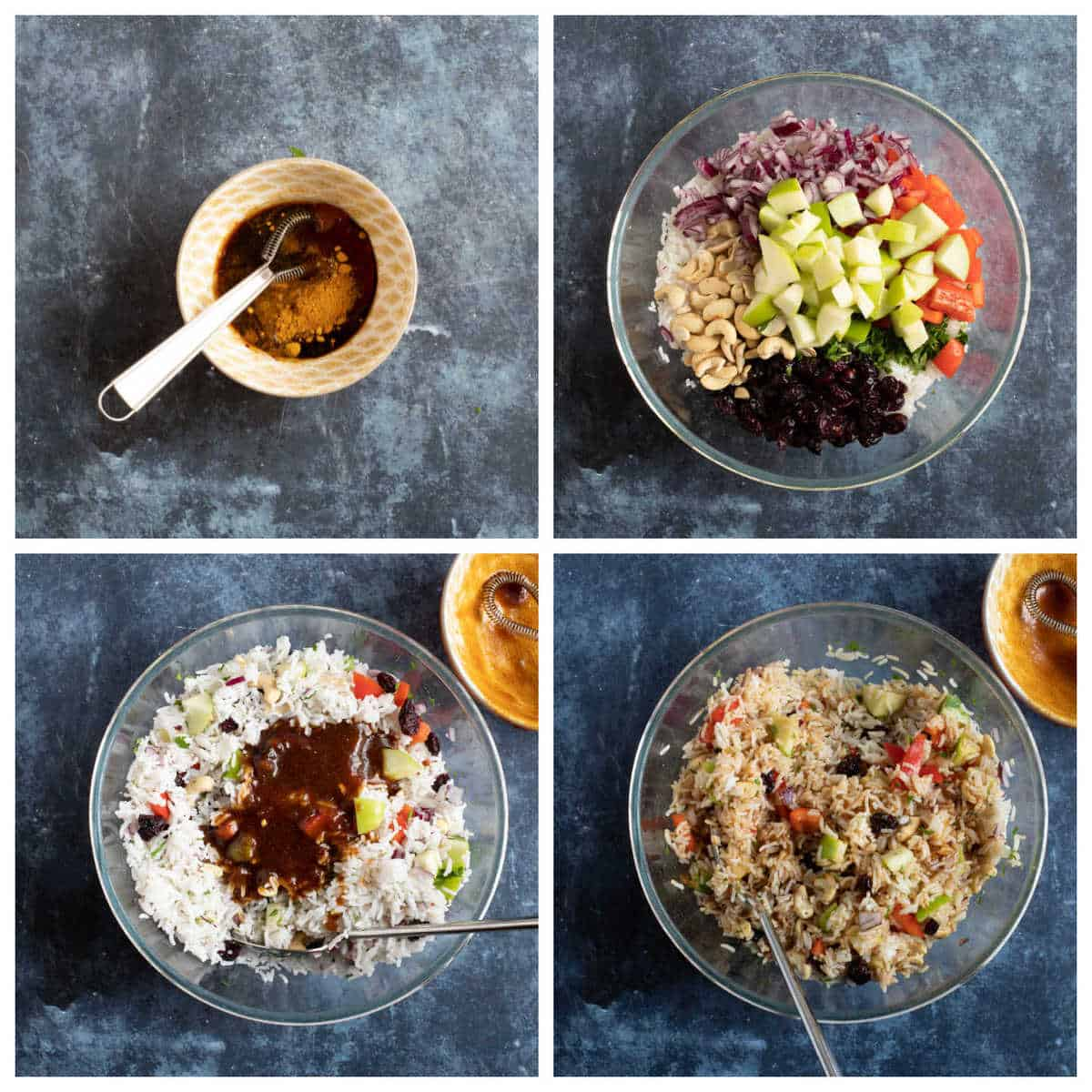 Step by step photo collage showing how to make the easy rice salad.
