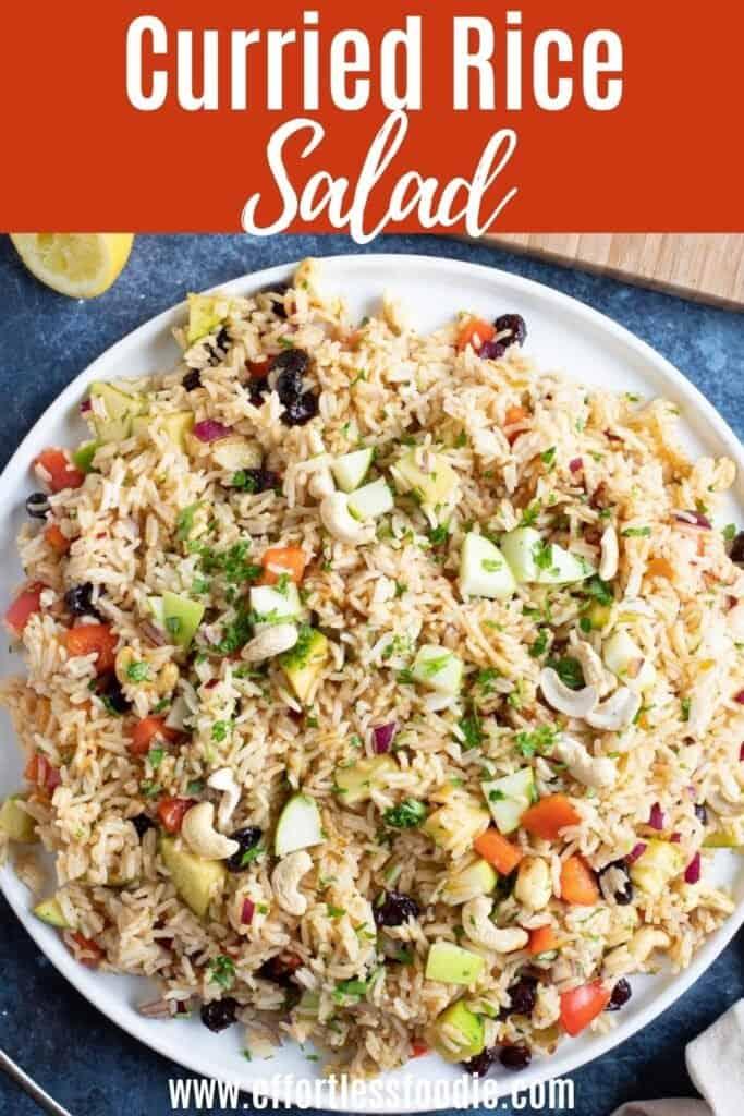 Curried rice salad pin image.