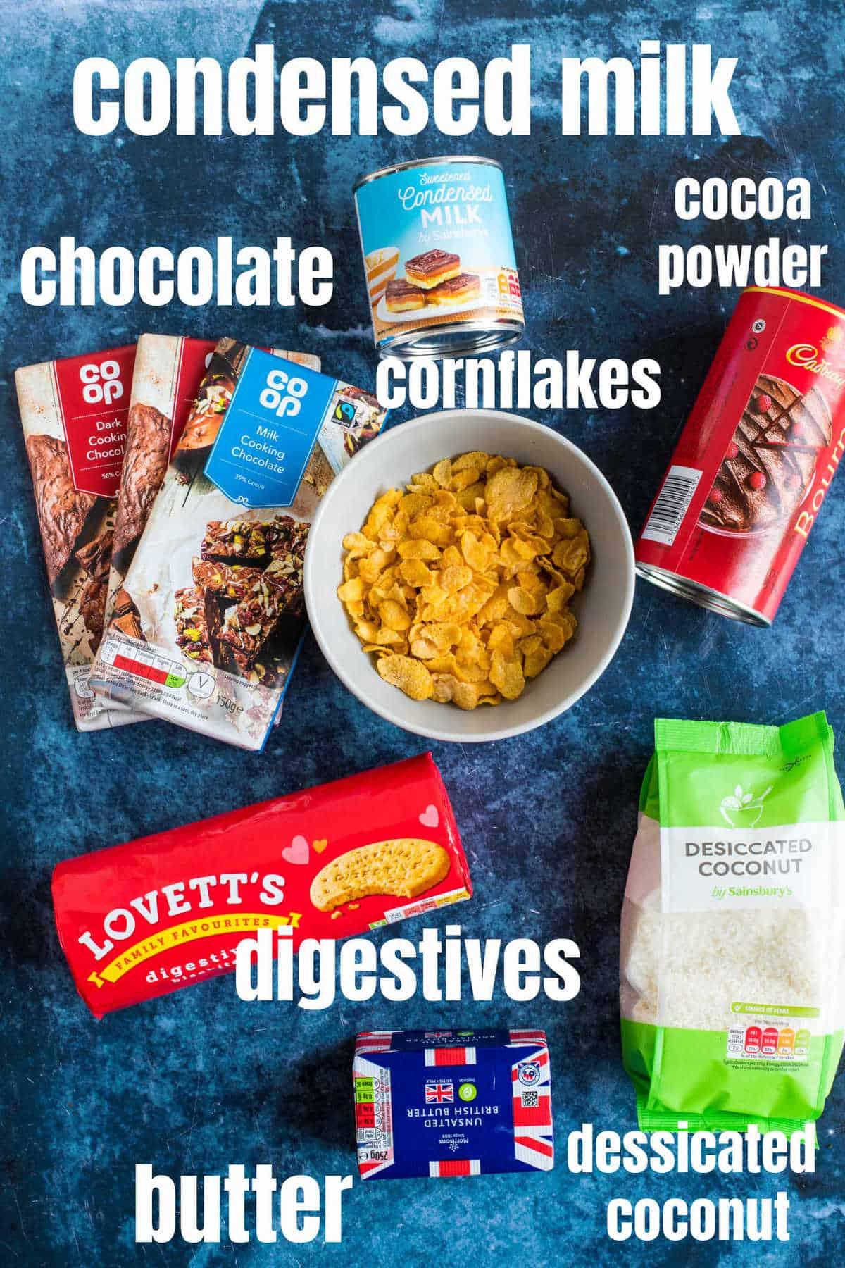 Ingredients for Hedgehog slice.