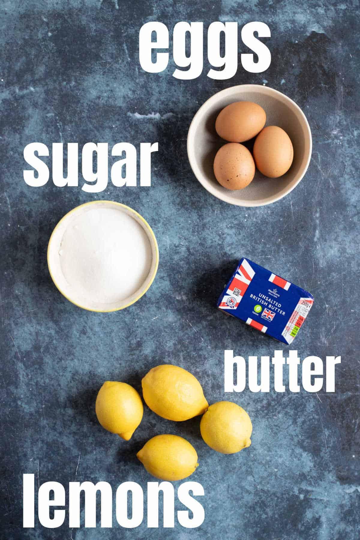 Ingredients needed to make microwave lemon curd.