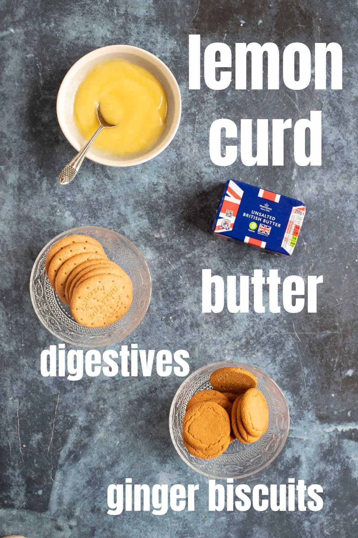 Ingredients for lemon curd tartlets.