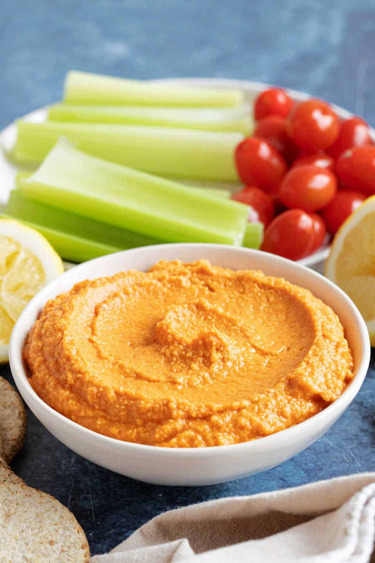 A small of red pepper hummus.