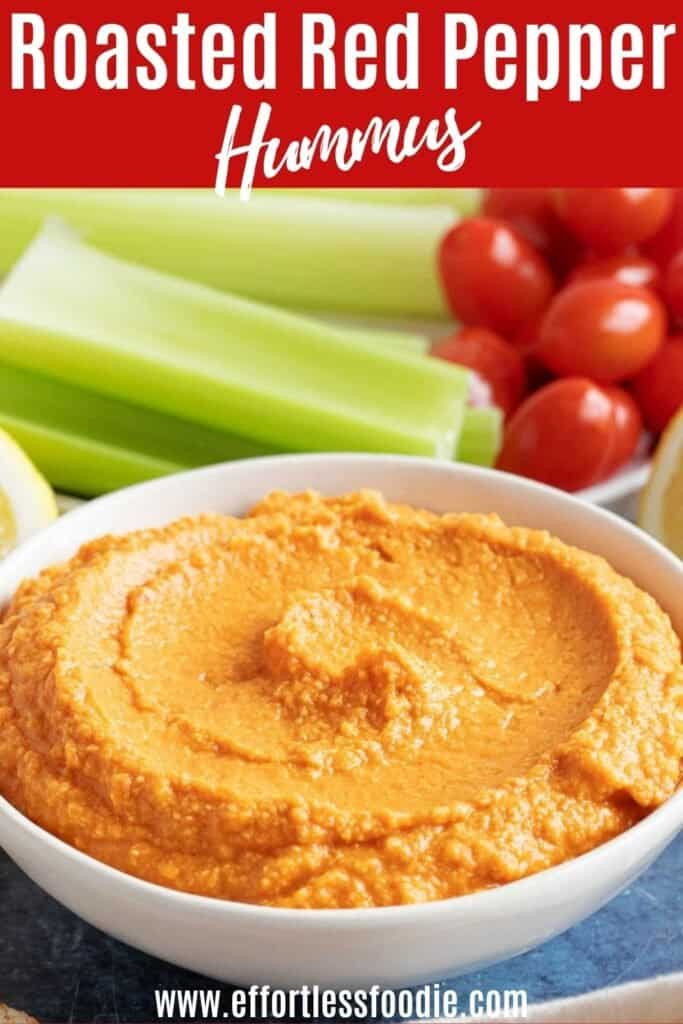 Roasted red pepper hummus pin image.