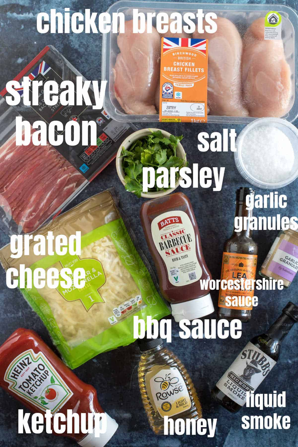 Ingredients for slow cooker  hunters chicken.