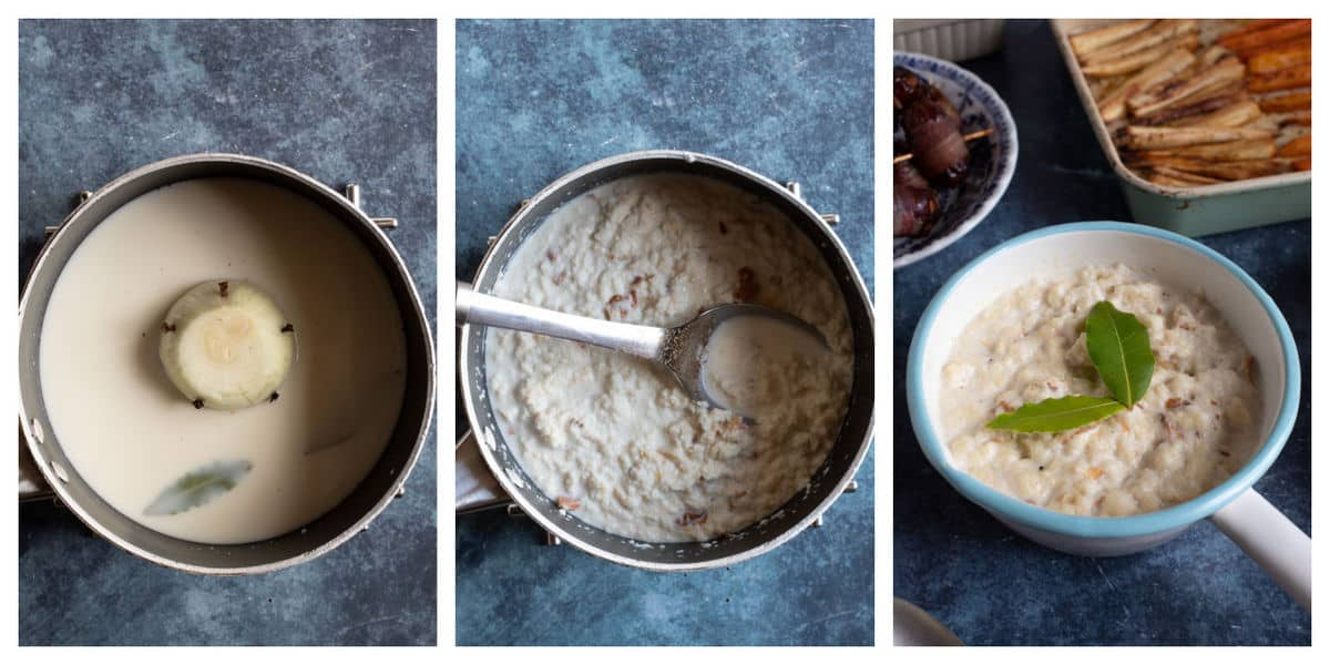 Step by step photos for making easy bread sauce.