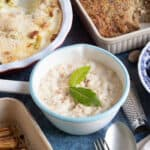 Bread sauce with bay leaves.