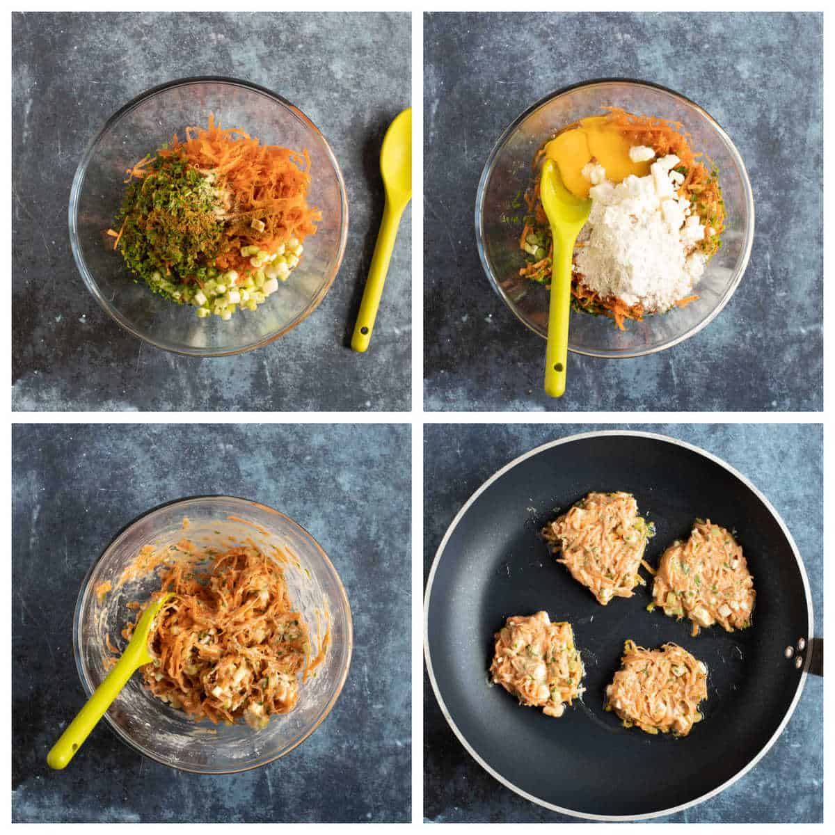 Step by step photo instructions for making carrot fritters.