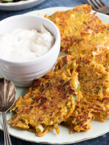 Carrot and feta fritters with a sour cream dip.