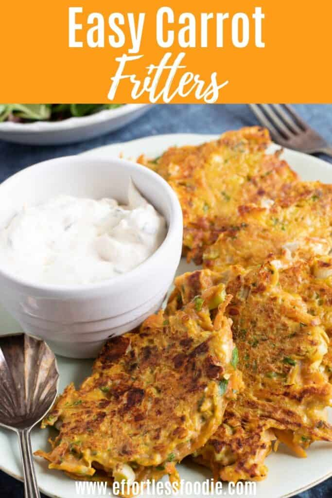Carrot fritters pin image for Pinterest.