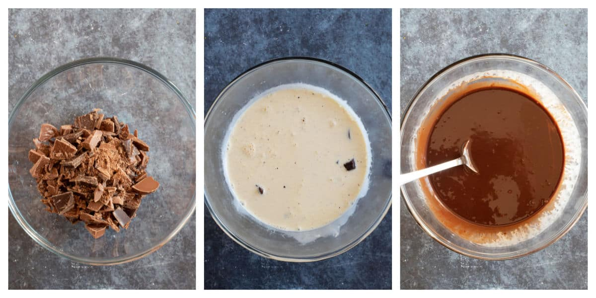 Step by step process photos showing how to make the chocolate orange ganache.