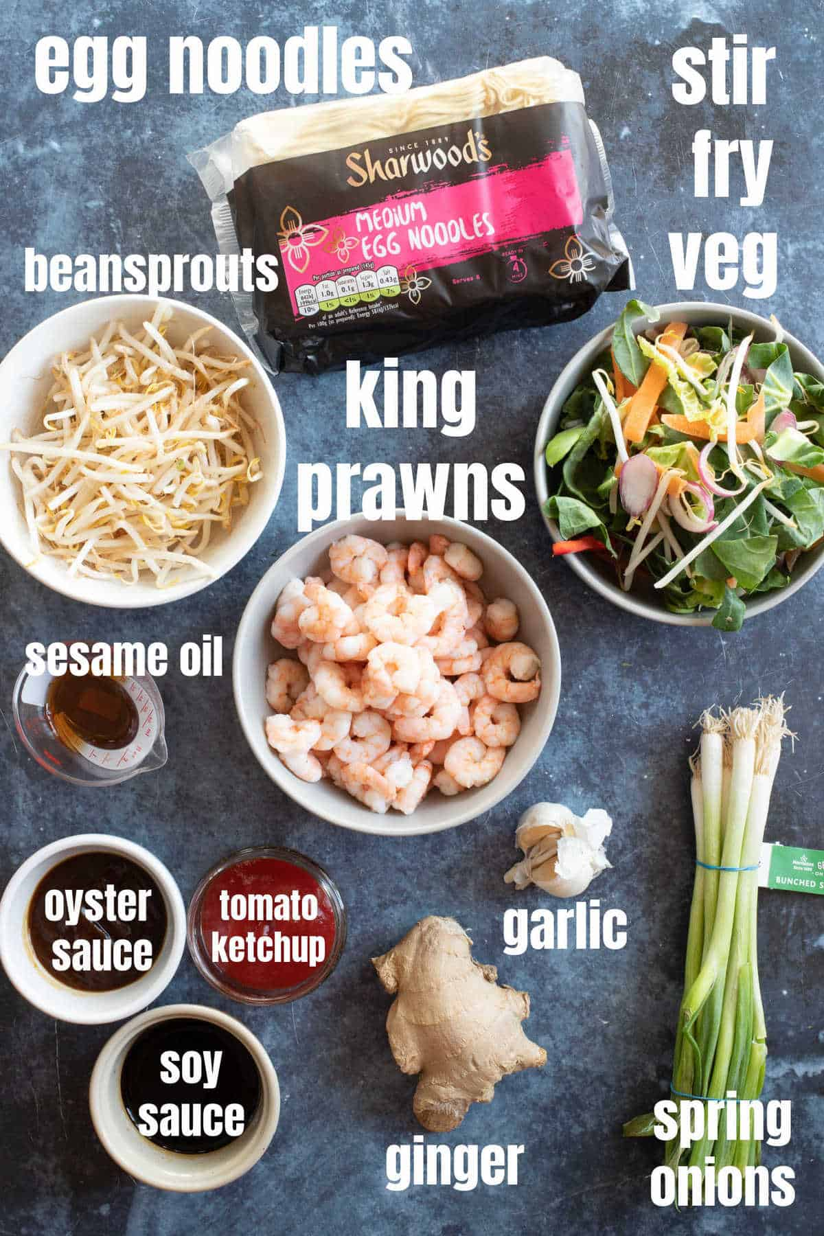 Ingredients for making prawn chow mein.