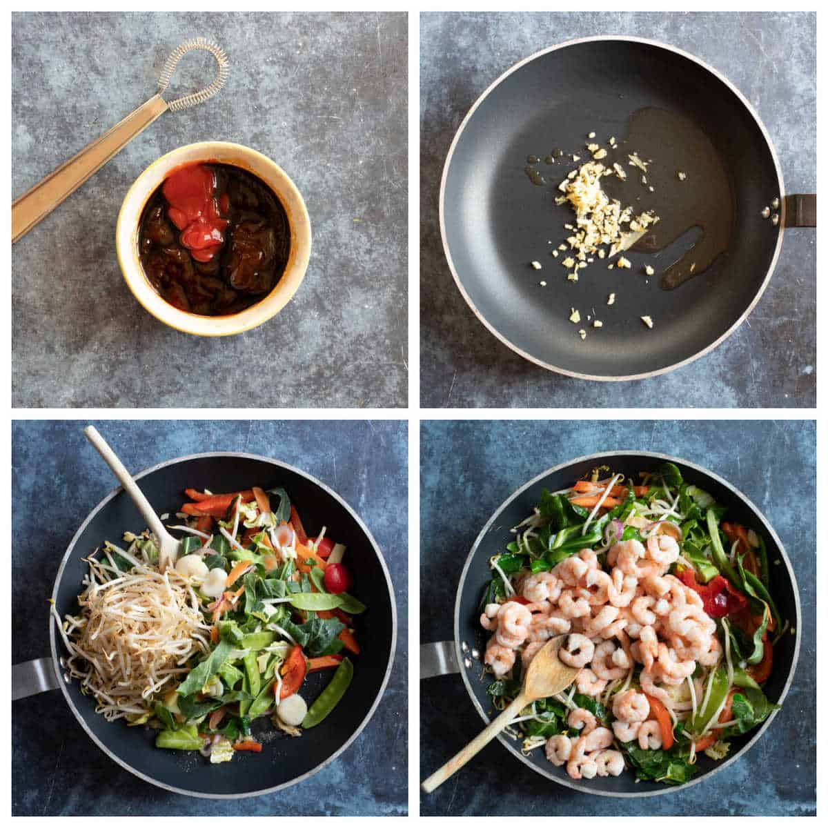 Step by step process photos for making prawn chow mein.