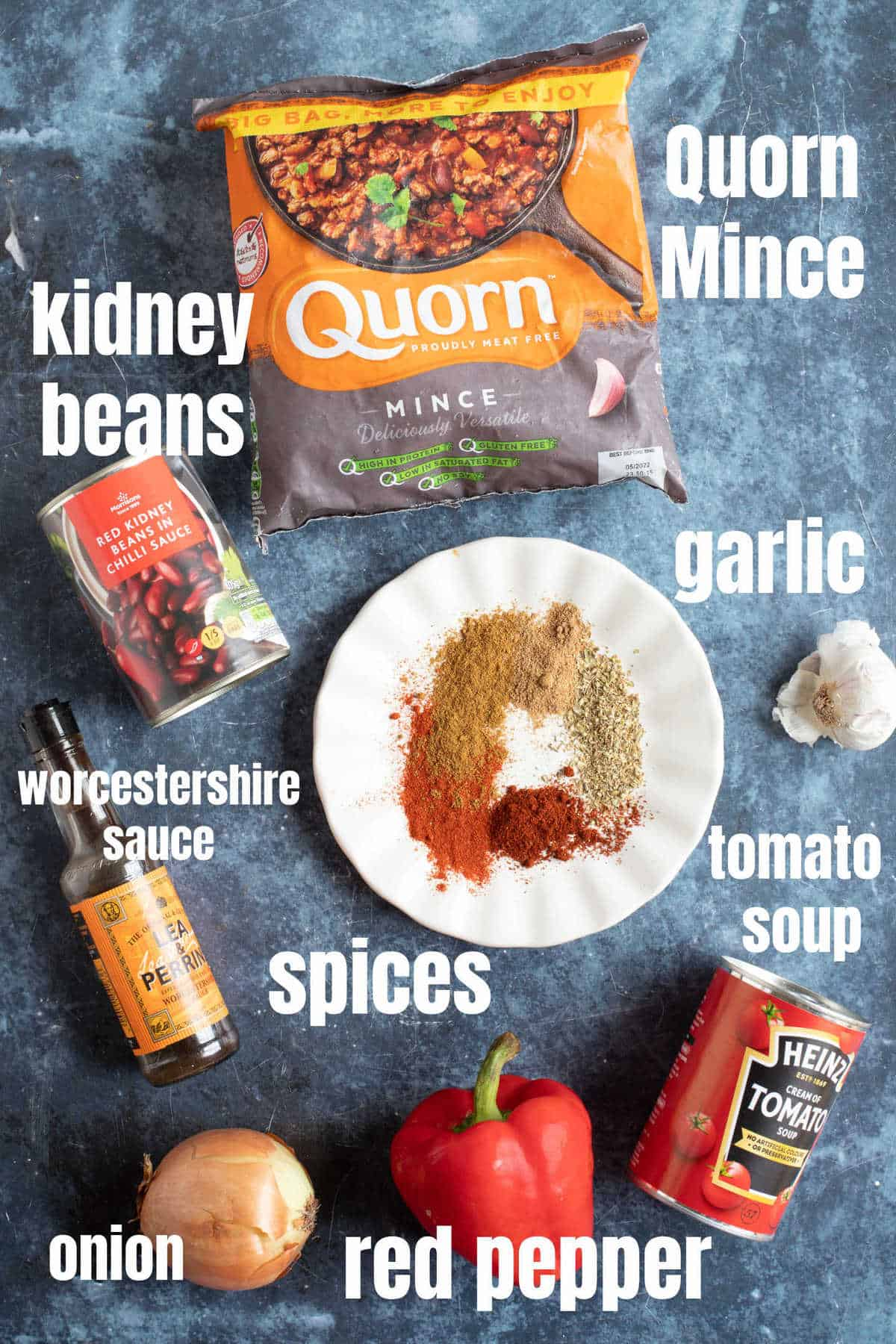 Ingredients for Quorn chilli con carne.