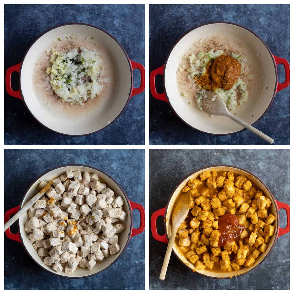 Step by step photo instructions for making Quorn curry.