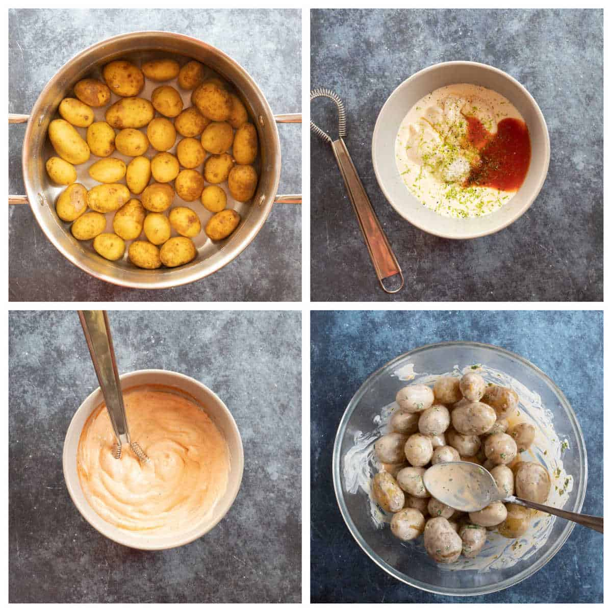 Step by step instructions for making the spicy potato salad with baby potatoes.