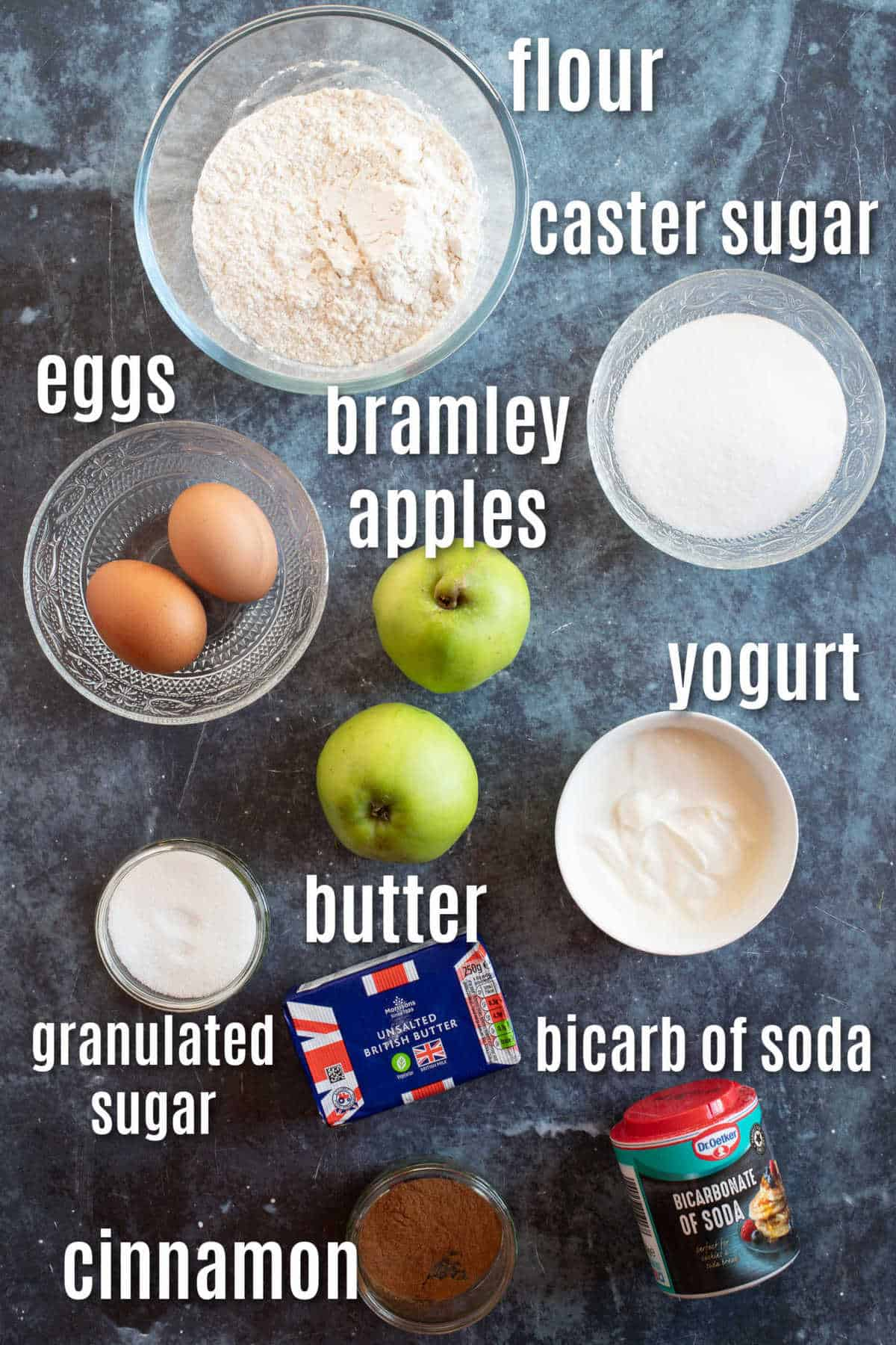 Ingredients for Bramley apple muffins.