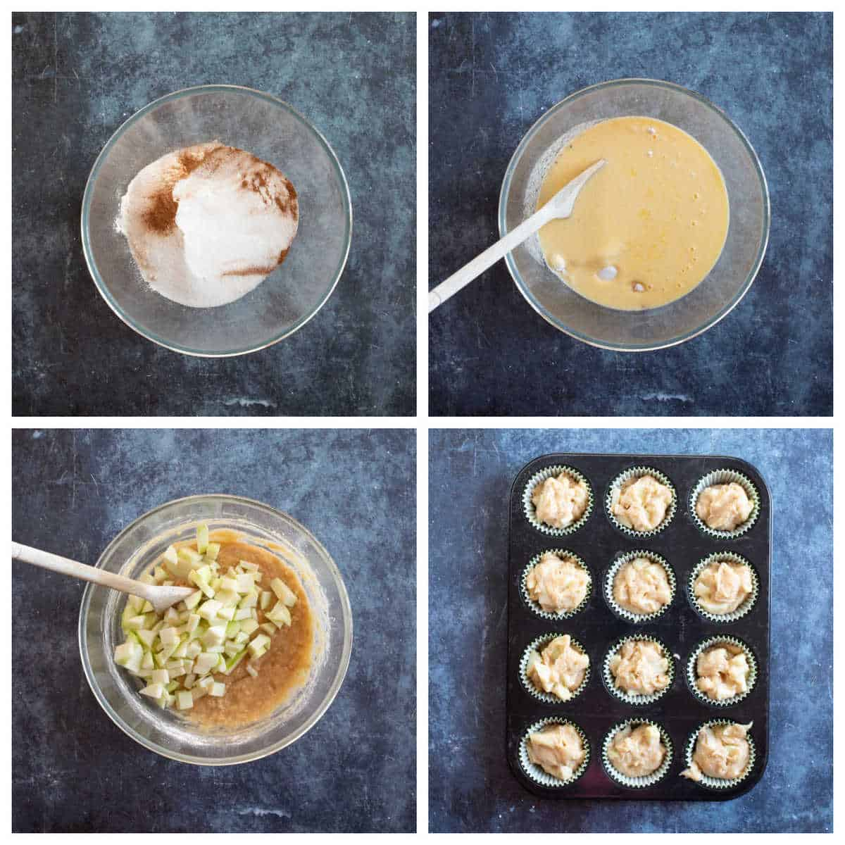 Step by step photo instructions for making the apple muffins.