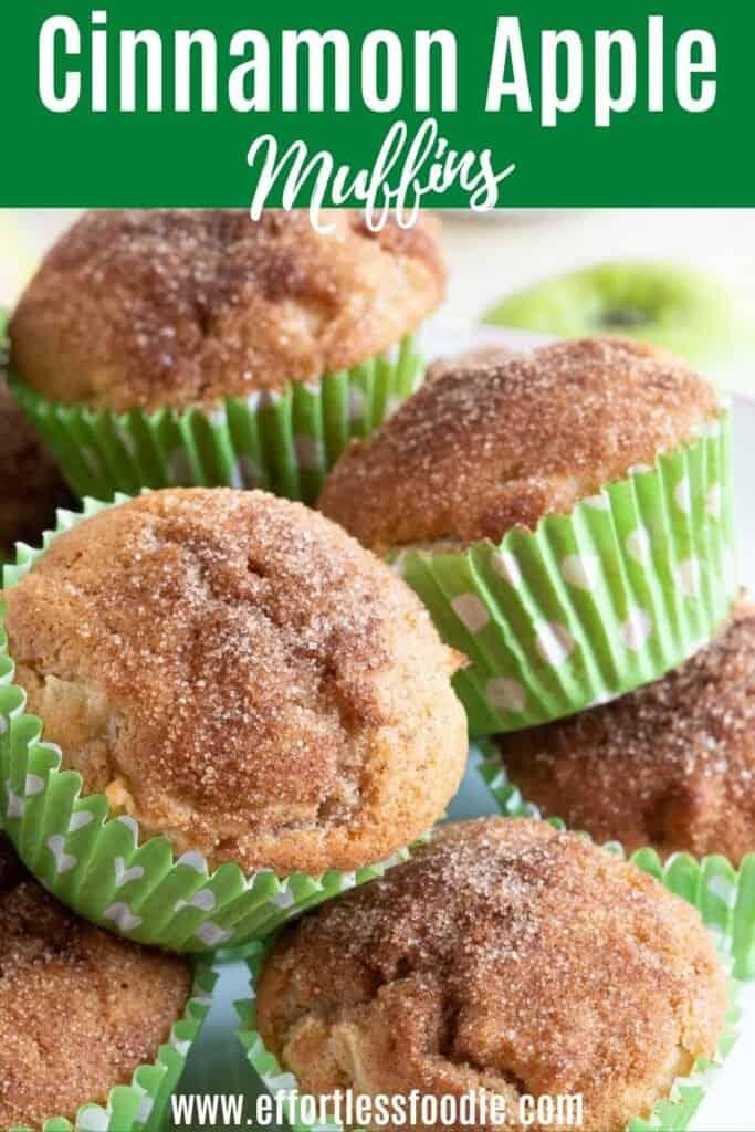 Cinnamon apple muffins pin image.