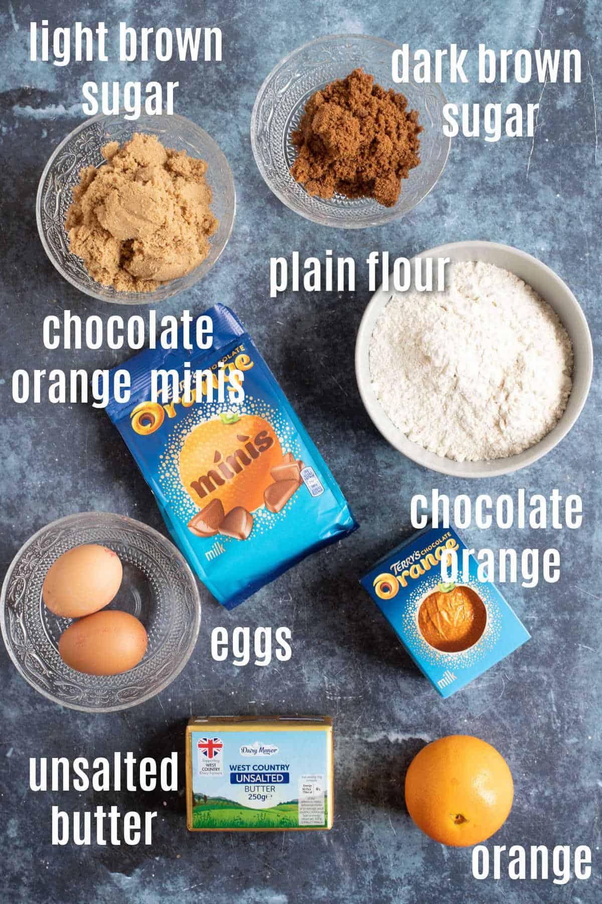 Ingredients needed for chocolate orange cookie bars.
