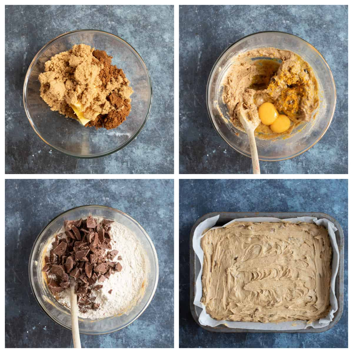 Step by step instructions for making the chocolate orange cookie bars