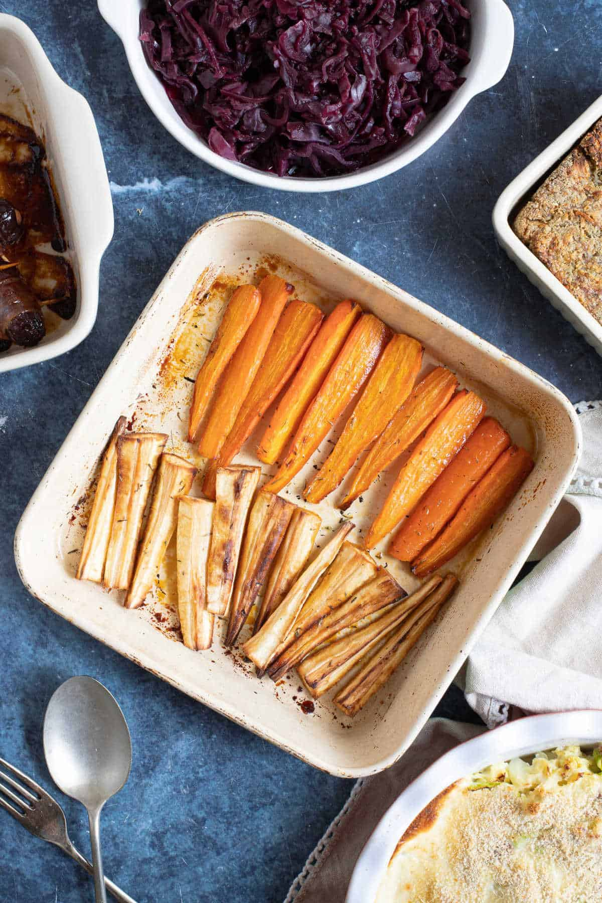 Honey roasted root vegetables.