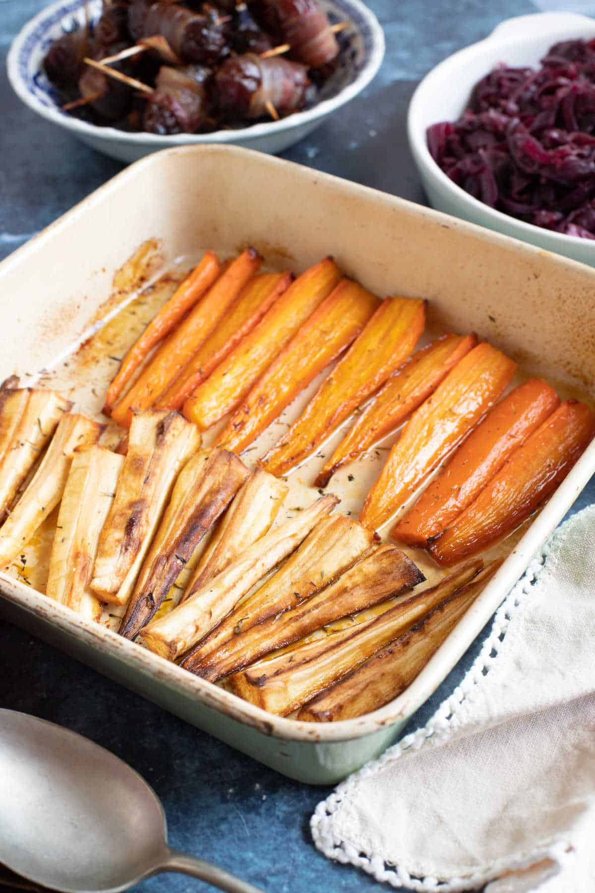 Roasted carrots and parsnips with thyme.