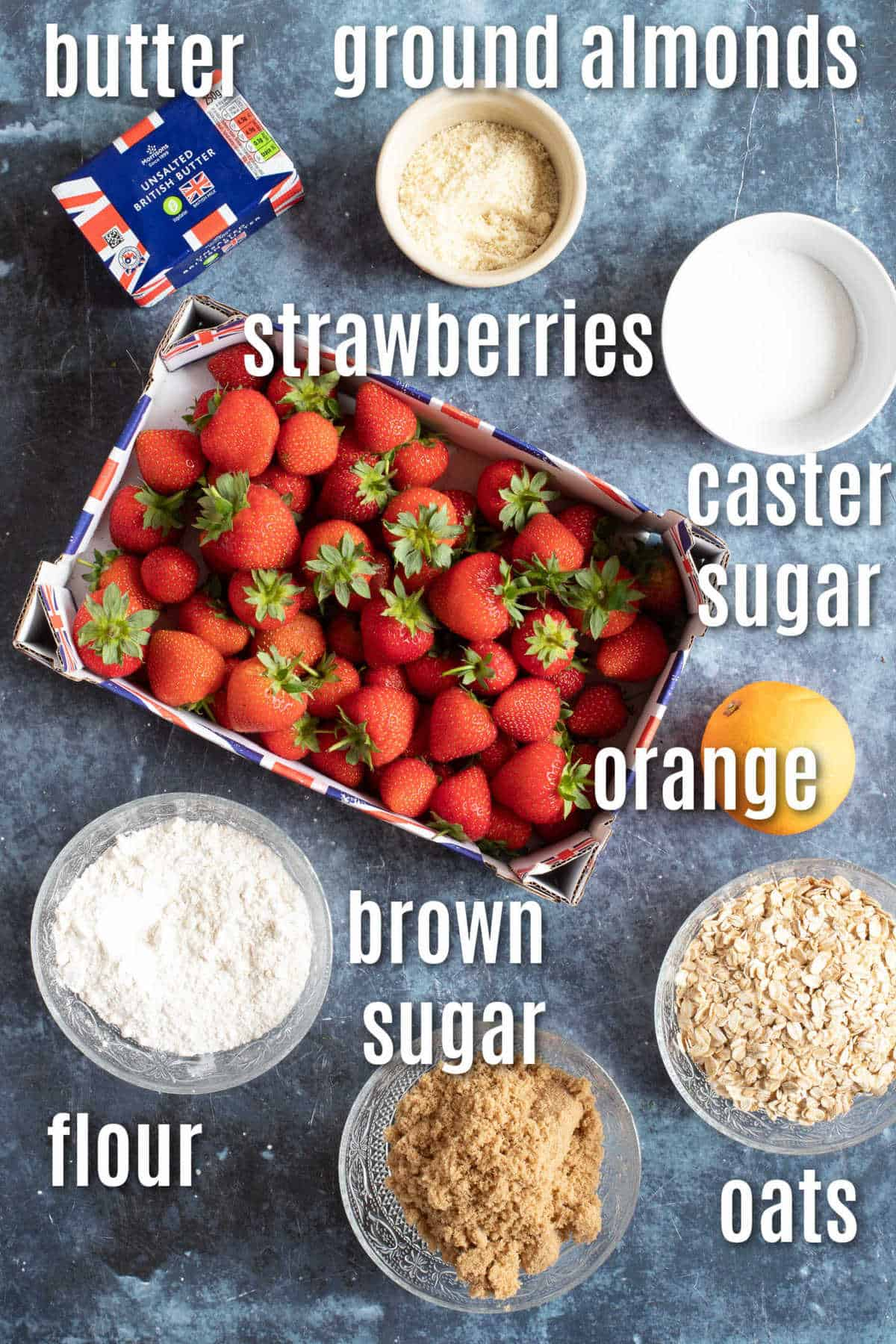 Ingredients needed to make the strawberry crumble.
