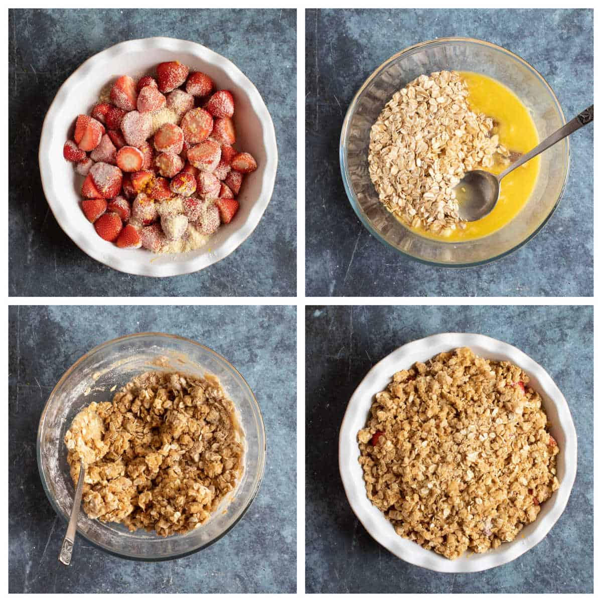 Step by step photo instructions for making the strawberry crumble.