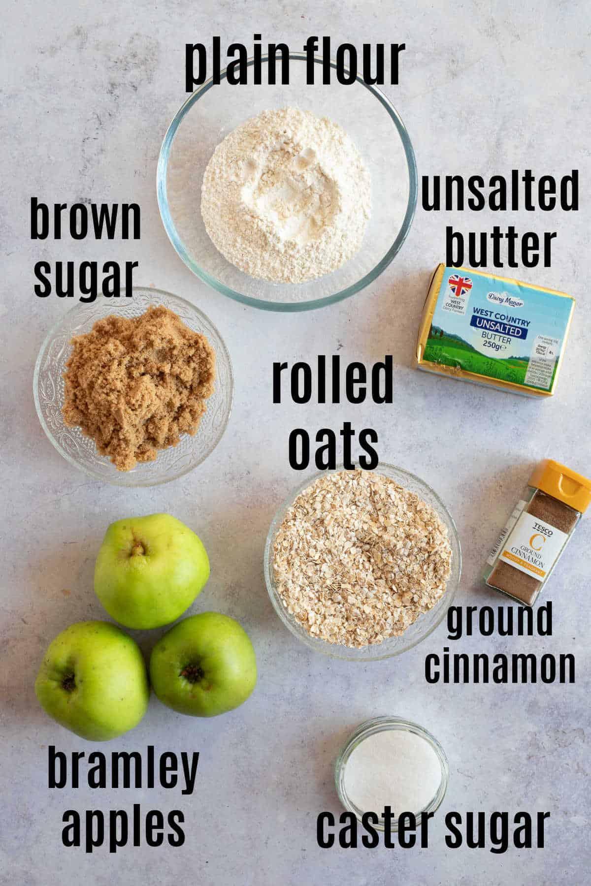 Ingredients for cinnamon apple crumble.